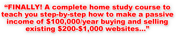 FINALLY! A complete home study course to teach you step-by-step how to make a passive income of $100,000/year buying and selling existing $200-$1,000 websites...
